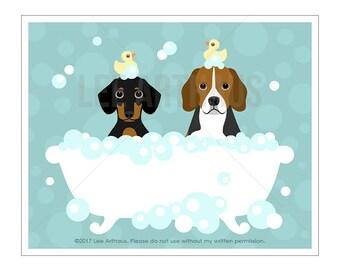 185D Dog Print - Dachshund and Beagle in Bubble Bath Wall Art - Beagle Print - Dachshund Dog Art - Dog Drawing - Dog Print