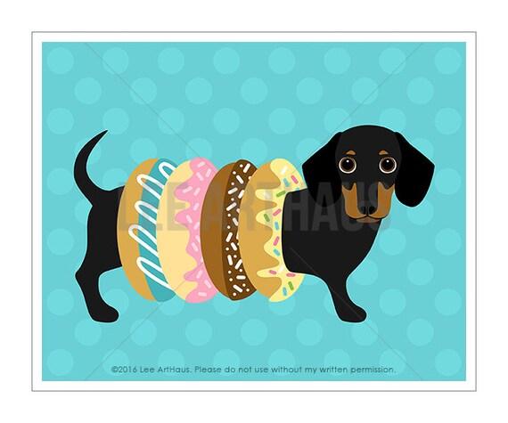 265D Funny Dog Art - Black and Tan Dachshund Donut Rings Wall Art - Donut Print - Dessert Wall Art - Dachshund Puppy Print - Donut Theme