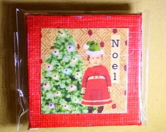Noel Mini Canvas Magnet - Two Inch