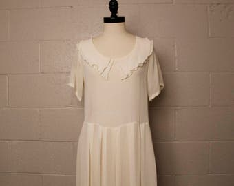 Vintage 1990's Jessica Everett Ivory Rayon 1920's Style Dress
