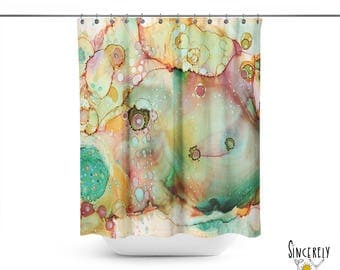 colorful abstract moose shower curtain original organic watercolor moose art shower curtains green painted bathroom accessories