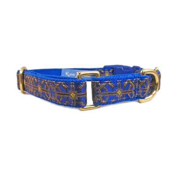 Dog Martingale Collar - Boy Dog Collar - Blue Dog Collar - Dog Collar for Greyhound - Whippet Collar - Fancy Dog Collar - Gold Dog Collar