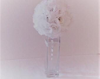 """Wedding centerpiece 6""""D Pomander Ball centerpiece silk flower wedding flower ball arrangement wedding kissing ball silk flower centerpiece"""