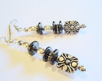HEMATITE EARRINGS, long with sterling beads HEALING