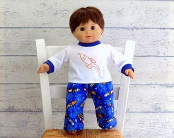 15 inch Boy Doll Flannel Pajamas, Bitty Boy Doll Rocketman PJ's