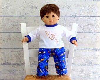 Bitty Boy Doll Rocket Pajamas, 15 inch Doll Clothes Astronaut PJ's