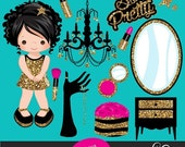 Pink & Glitter Make up Party Clipart, make up items, powder, eye shadow, lipstick, nail polish and gold glitter cute characters