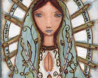 Our Lady of Lujan - Virgen de Lujan -  Giclee print mounted on Wood (4 x 5 inches) Folk Art  by FLOR LARIOS
