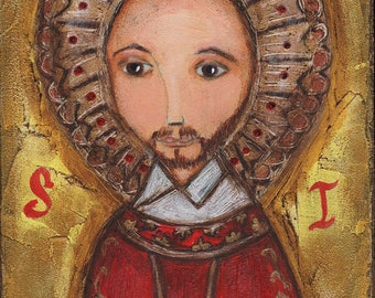 Saint Ignatius - Folk Art  Print from Painting (8 x 10  inches Print) by FLOR LARIOS