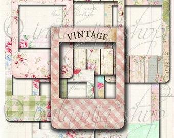 SALE SHABBY PHOTO Frames Collage Digital Images - printable download file Digital Collage Sheet Vintage Paper Scrapbook