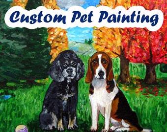 Custom Pet Art, Pet Portrait, Dog Themed, Personalized Dog Art, Dog Portrait ,Original Acrylic Painting, Cat Canvas, Art from Your Photos