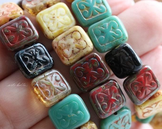 TRIX MIX .. 15 Picasso Czech Glass Rectangle Beads 12x10mm (5616-st)