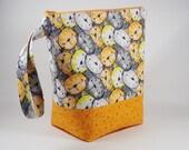 Kitty Faces Knitting Project Bag - Tall Sock Project Bag - Zippered Project Bag - Crochet Project Bag - Tall Wedge Bag - Sock Sack