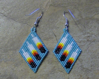 Three Feather Earrings Hand Made Seed Beaded