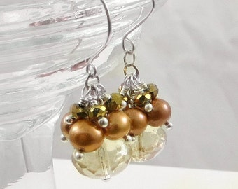 Holiday Jewelry Glass and Pearl Cluster Earrings Gifts for her