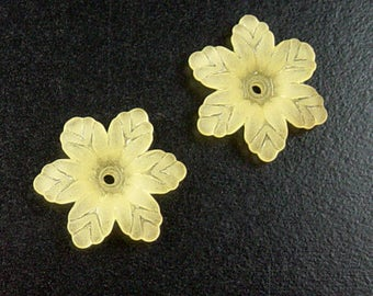 CLEARANCE Acrylic Bead 10 Star Daisy Flower Yellow 6-Petal Frosted 19mm (1031luc19m1-5)os