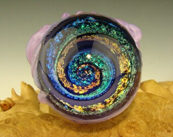 Dichroic Glass MONSTER VORTEX Marble Orb with 3 Eyes  Lampwork Art Orb (ready to ship)