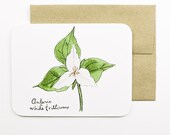 Ontario | White Trillium | Flowers of the Provinces and Territories card with envelope | Greeting card | Canadian flowers