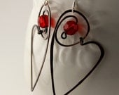 Heart Hoops Earrings Antiqued Copper and Red faceted glass