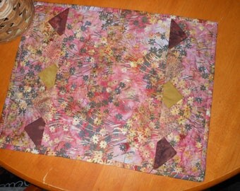 Batik Placemats with Prairie Points Set of Two, wedding gift, bridal shower gift, handmade placemats, set of placemats