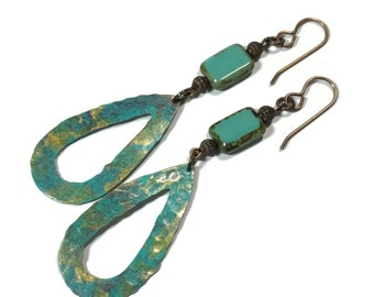 SALE Painted Teardrop Brass Turquoise and Gold Boho Earrings