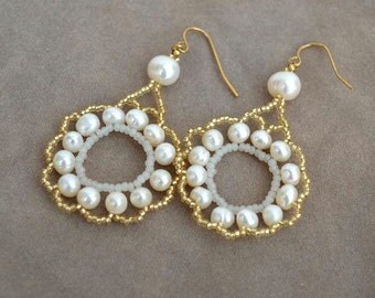 Pearl medallion earrings White pearls beadwork earrings Real pearls and gold beads earrings Bridal earrings with real pearls E893