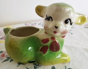 Small Green and Yellow Lamb for Easter, Spring Planting or Decor, Vintage American Pottery