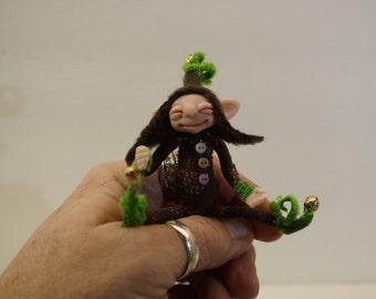 SALE ooak poseable very happy tiny ELF pixie  ( #20 ) polymer clay art doll by DinkyDarlings  fairy angel