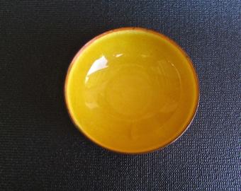 Leon Statham Yellow-Gold Enamel Bowl, Mid Century Modern  American Arts & Crafts Movement
