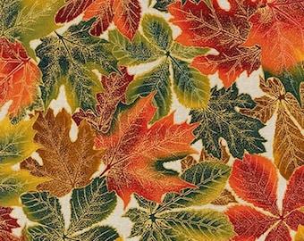 One (1) Yard - Shades of the Season 9 Leaves Fabric Robert Kaufman SRKM-16041-15 IVORY