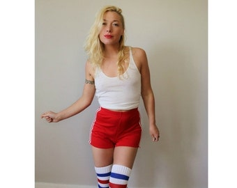 ON SALE 1980s Red Athletic Shorts~Size Extra Small to Small