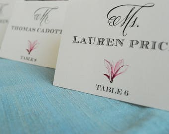 Pink Flower Place Cards | Floral Reception Escort Cards | Reception Decorations | Vivienne & Miles