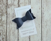 Navy Blue Faux Leather Hair Bow - navy hairbow clippie - everyday hair clip - perfect for photos - hair bow with non slip grip