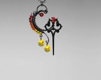 Steampunk Necklace, Swarovski Crystal, Swarovski Necklace, Steampunk Jewelry, Watch Parts, Wire Wrapped, Youniquely Chic, Helios v2