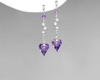 Purple Swarovski Crystal Heart Earrings, Silver Stars, Tanzanite Wild Hearts, Girly Earrings,  Stud Earrings, Crystal Jewelry, Drop Earrings