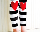 Heart Leggings. Valentines Day Leggings. Girls Heart Leggings. Girls Leggings. Hearts on Knees. Striped Leggings. Toddler Leggings