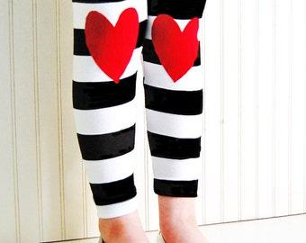 Heart Leggings. Girls Leggings. Kids Leggings. Hearts on Knees. Striped Leggings. Toddler Leggings. Girl gift. Knee patch Leggings.