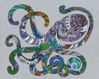 Nautical Tattoo Original Painting Octopus Tattoo Original Art Original Tattoo Art Tattoo Illustration Watercolor Tattoo Octopus Painting