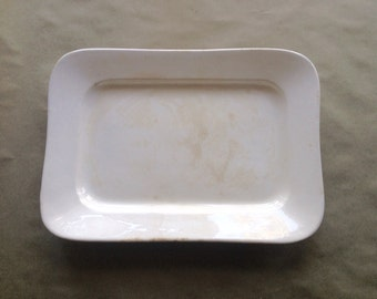 Antique English Ironstone Platter by Maddock Rectanglar Serving Piece White Pottery