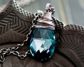 Black Friday Sale Crystal Necklace, Swarovski Crystal, Crystal Jewelry, Aqua Crystal, Sterling Silver, Prism, PoleStar, Midnight, Indigo, Cr