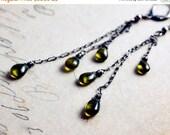 Cyber Monday Sale Vesuviante Earrings, Gemstone Earrings, Chandelier Earrings, Forest Green, Sterling Silver, Dangle Earrings, Oxidized, Gra