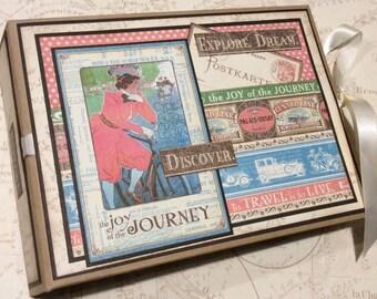 Travel Scrapbook Album, PREMIUM Scrapbook, Vacation Album, Mini Album, Graphic 45 Travel Scrapbook, Photo Album Journal