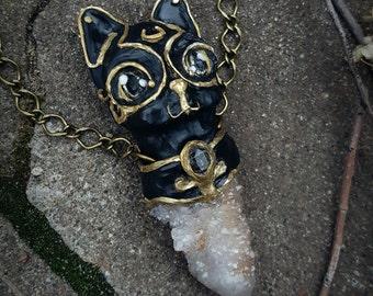 Spirit Quartz Necklace - Black Cat Spirit Quartz Pendant - Large Golden Healer Spirit Quartz Pendant Necklace - Egyptian Cat Goddess - Bast