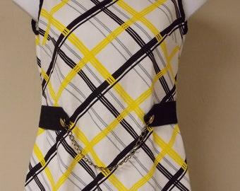 vintage Flutterbye mini dress or tunic top, white w/black & yellow geo, sleeveless