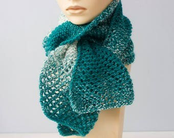 Hand Knit Scarf, Ombre Deep Aqua Green and White Scarf,  Warm Winter Scarf, Ready to Ship
