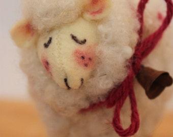 Sheep Little White Sheep Prim Needle Felted Sheep #2345