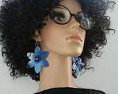 Gorgeous Blue and White Color  Aluminum Flower Earrings, Embellished with Blue Shiny Marble, Large Earrings, Women's Earrings