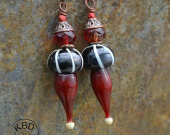 Court Jester, Red, Black, White, Copper, Lampwork Earrings