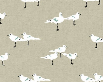 Tidal Wave ALN 7554-N Seagulls Linen Cotton Quilting Sewing Crafting Fabric Andover Jane Dixon Material 1/2 yard cut