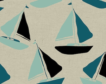 Tidal Wave ALN 8080-T Sailboats Linen Cotton Quilting Sewing Crafting Fabric Andover Jane Dixon Material 1/2 yard cut